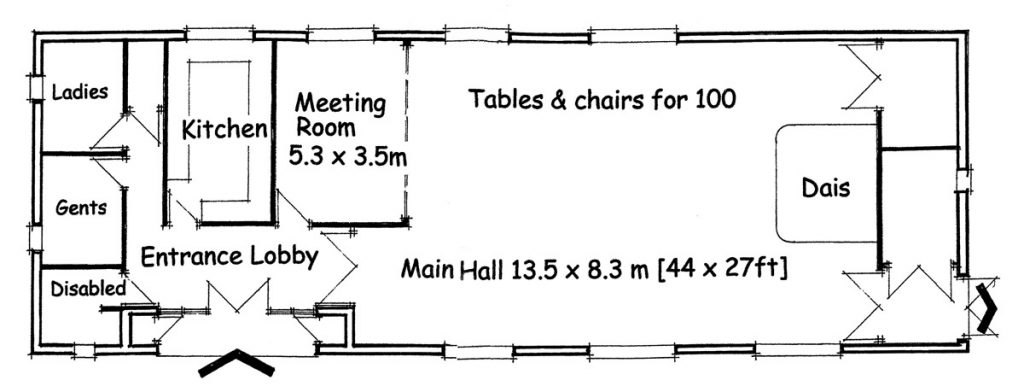 Floor plan of Burcot Village Hall