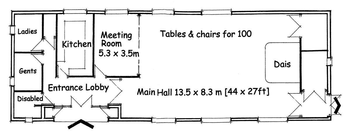 Floor plan of Burcot Village Hall