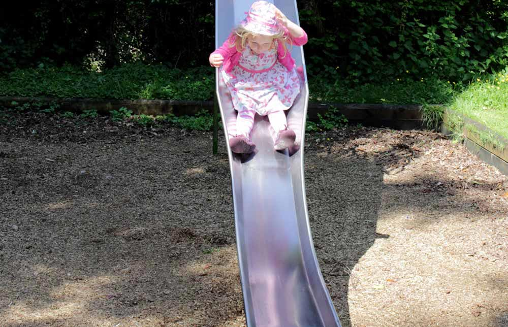 The slide in the children's play area at Burcot Village Hall