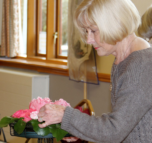 Flower arranging class at the village hall