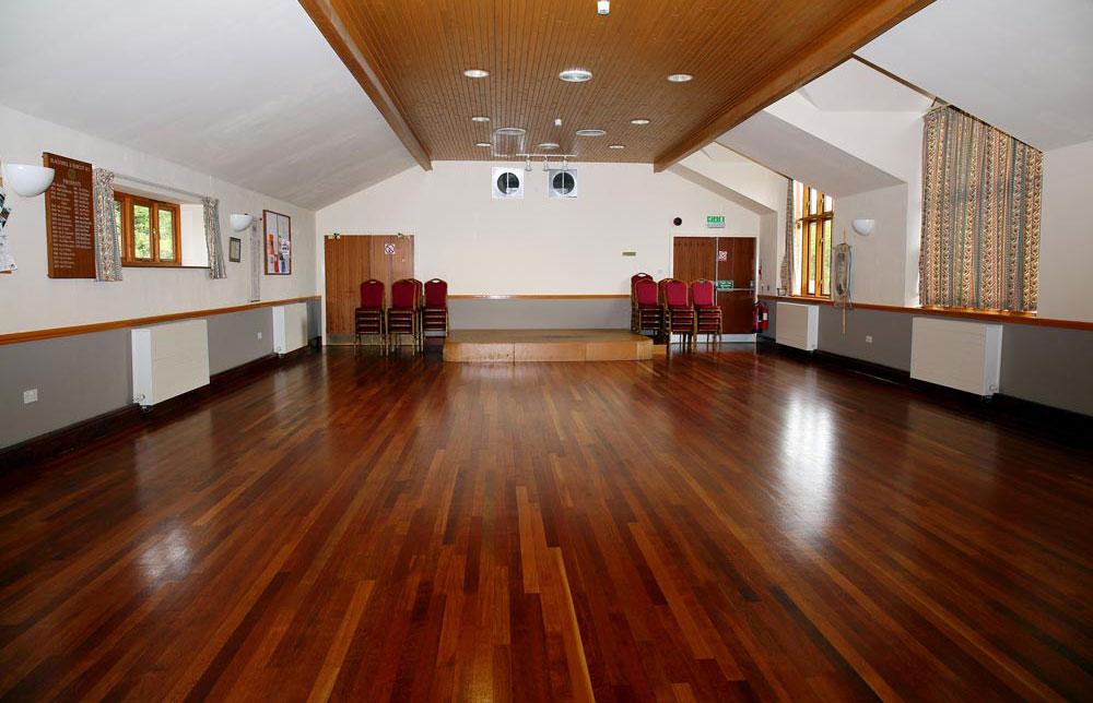 Main hall and dais at Burcot Village Hall