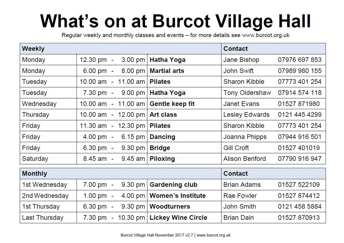 Burcot Village Hall what's on timetable image updated November 2017